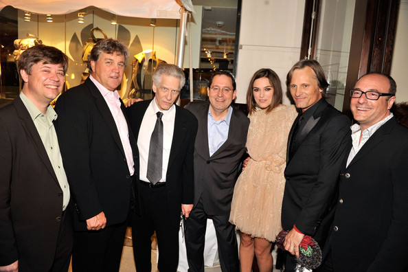 Viggo Mortensen (L-R) Producer Marco Mehlitz, co-president and co-founder of Sony Pictures Classics Tom Bernard, director David Cronenberg, Co-president and founder of Sony Pictures Classics Michael Barker, actors Keira Knightley, Viggo Mortensen and producer Martin Katz attend Sony Pictures Classic Cocktail Party at Creme Brasserie during the 2011 Toronto International Film Festival on September 10, 2011 in Toronto, Canada.