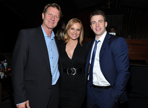 The Tribeca Film Festival After-Party For Puncture Hosted By (RED) At 1Oak [suit,formal wear,event,tuxedo,white-collar worker,fun,businessperson,smile,vinessa shaw,chris evans,brett cullen,red,red,l-r,1oak,new york city,1oak,tribeca film festival after-party for puncture hosted]