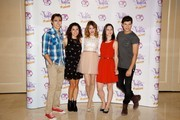 (L-R) Jorge Blanco, Alba Rico, Martina Stoessel, Ludovica Comello and Diego Dominguez attend the 'Violetta' photocall at the Emperador Hotel on June 24, 2013 in Madrid, Spain.