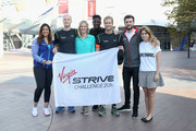 (L-R) Marion Bartoli, Noah Devereux, Holly Branson, Jermain Jackman, Sam Branson, Jack Whitehall and  Princess Beatrice of York attend a photocall as the Virgin STRIVE challenge sets off at 02 Arena on August 7, 2014 in London, England.