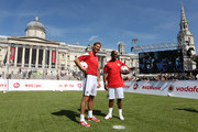 (L-R) Ex Arsenal legends Tony Adams and Ian Wright during the Vodafone 4G Goes Live Launch at Trafalgar Sqaure on August 29, 2013 in London, United Kingdom.  Vodafone kicks off 4G network in London with a choice of Sky Sports TV or Spotify Premium, before launching in 12 more cities before the end of the year.