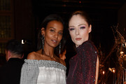 (L-R) Liya Kebede and Coco Rocha attend the Vogue Yoox Challenge - The Future of Responsible Fashion Dinner event at S. Paolo Converso on February 22, 2020 in Milan, Italy.