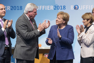 Volker Bouffier Ursula Bouffier Angela Merkel Campaigns For CDU In Hesse State Elections In Dieburg