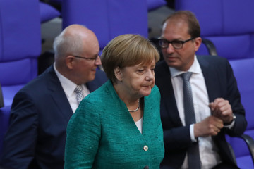 Volker Kauder Merkel Gives Government Declaration Ahead Of EU And NATO Summits