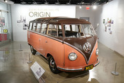 Volkswagen Type 2 Bus on display in the 'Building an Electric Future' exhibit at the fourth annual Volkswagen Drive-In Movie with Shay Mitchell at the Petersen Automotive Museum on November 21, 2019 in Los Angeles, California.