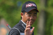 Liang Wenchong of China waves to the fans during the day two of the 2018 Volvo China Open at Topwin Golf and Country Club  on April 27, 2018 in Beijing, China.