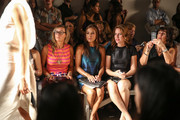 (L-R) Designer / TV personality Nikki Poulos, actress Toni Trucks and Amy Trucks attend the Voz fashion show during Mercedes-Benz Fashion Week Spring 2014 at Eyebeam on September 12, 2013 in New York City.