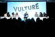 (L-R) Actresses Selenis Leyva, Uzo Aduba, Danielle Brooks, Yael Stone, Television Personality Dave Holmes, Actor Joe Lo Truglio, Actress Stephanie Beatriz and Actor Lamorme Morris speak on stage during Vulture Festival presented by New York Magazine at Milk Studios on May 11, 2014 in New York City.