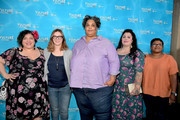 (L-R) Writer Randa Jarrar, actor Amber Tamblyn, writer Roxanne Gay, writer Rachel McKibbens, and writer Attica Locke attend the 'Feminist AF' panel during Vulture Festival LA Presented by AT&T at Hollywood Roosevelt Hotel on November 18, 2017 in Hollywood, California.
