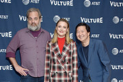 (l_R) Dan Harmon, Gillian Jacobs, and Ken Jeong arrive at the Vulture Festival Los Angeles 2019 Day 2 at Hollywood Roosevelt Hotel on November 10, 2019 in Hollywood, California.