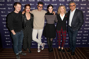(L-R) Jackson McHenry, Noah Reid, Annie Murphy, Dan Levy, Emily Hampshire, Catherine O'Haraand Eugene Levy attend Vulture Festival presented by AT&T at Hollywood Roosevelt Hotel on November 17, 2018 in Hollywood, California.