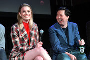 Gillian Jacobs (L) and Ken Jeong speak onstage at Vulture Festival Presented By AT&T at The Roosevelt Hotel on November 10, 2019 in Hollywood, California.