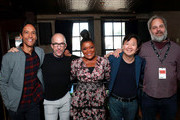 (L-R) Danny Pudi, Jim Rash, Yvette Nicole Brown, Ken Jeong and Dan Harmon in the Heineken Green Room at Vulture Festival Presented By AT&T at The Roosevelt Hotel on November 10, 2019 in Hollywood, California.