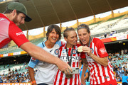 Jessica Fishlock and Lauren Barnes of Melbourne City celebrates victory during the W-League Grand Final match betweenSydney FC and Melbourne City FC at Allianz Stadium on February 18, 2018 in Sydney, Australia.