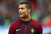 Cristiano Ronaldo of Portugal lines up prior to the FIFA Confederations Cup Russia 2017 Semi-Final between Portugal and Chile at Kazan Arena on June 28, 2017 in Kazan, Russia.