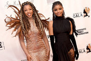 Chloe x Halle arrive at the WACO Theater Center's 3rd Annual Wearable Art Gala at The Barker Hangar at Santa Monica Airport on June 1, 2019 in Santa Monica, California.