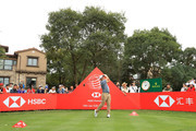 Francesco Molinari of Italy plays his shot from the 18th tee during the first round of the WGC - HSBC Champions at Sheshan International Golf Club on October 25, 2018 in Shanghai, China.