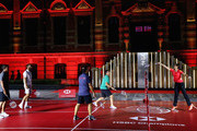 Brooks Koepka of the United States, Dustin Johnson of the United States, Francesco Molinari of Italy and Rory McIlroy of Northern Ireland play badminton against Wang Lin of China former World No.1 Badminton player during a photocall ahead of the WGC - HSBC Champions at the Chamber of Commerce Shanghai on October 23, 2018 in Shanghai, China.