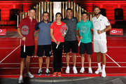 Justin Rose of England, Francesco Molinari of Italy, Wang Lin of China former World No.1 Badminton player, Brooks Koepka of the United States,  Rory McIlroy of Northern Ireland and Dustin Johnson of the United States pictured during a photocall ahead of the WGC - HSBC Champions at the Chamber of Commerce Shanghai on October 23, 2018 in Shanghai, China.