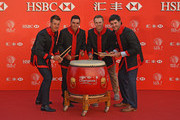 (L to R) Henrik Stenson of Sweden, Rickie Fowler, Jordan Spieth and Bubba Watson of the United States perform on stage during a photocall for the WGC - HSBC Champions at The Peninsula on November 3, 2015 in Shanghai, China.