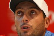 Francesco Molinari of Italy talks to media in a press conference during a practice round at Sheshan International Golf Club on October 24, 2018 in Shanghai, China.