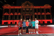 Justin Rose of England, Francesco Molinari of Italy, Brooks Koepka of the United States, Rory McIlroy of Northern Ireland and Dustin Johnson of the United States pose with Wang Lin, former world number one badminton player, during a photocall prior to the WGC - HSBC Champtions at the Chamber of Commerce Shanghai on October 23, 2018 in Shanghai, China.
