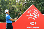 Francesco Molinari of Italy plays his shot from the first tee during the pro-am prior to the WGC - HSBC Champions at Sheshan International Golf Club on October 24, 2018 in Shanghai, China.