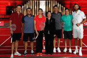Justin Rose of England, Francesco Molinari of Italy, Wang Lin of China former World No.1 Badminton player, Helen Wong, chief executive for Greater China at HSBC, Brooks Koepka of the United States,  Rory McIlroy of Northern Ireland and Dustin Johnson of the United States pictured during a photocall ahead of the WGC - HSBC Champions at the Chamber of Commerce Shanghai on October 23, 2018 in Shanghai, China.