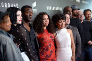 """Executive producer/creater Misha Green, actress Jessica de Gouw, actor Aldis Hodge, actress Jurnee Smollett-Bell, actress Amirah Vann, executive producer/creator Joe Pokaski, executive producer MIke Jackson, executive producer Akiva Goldsman, actor Christopher Backus and actor PJ Marshall attend WGN America's """"Underground"""" For Your Consideration Emmy Event on April 17, 2016 in Beverly Hills, California."""