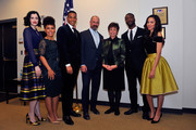 """(L-R) Stars Jessica de Gouw, Amirah Vann, Alano Miller, Chris Meloni, senior advisor to the president Valerie Jarrett, Aldis Hodge and Jurnee Smollett-Bell appear at a screening and panel discussion of WGN America's """"Underground"""" at The White House on February 22, 2016 in Washington, DC."""