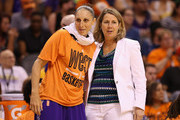 Western Conference All-Star Diana Taurasi #3 of the Phoenix Mercury talks with head coach Cheryl Reeve of the Minnesota Lynx during the WNBA All-Star Game at US Airways Center on July 19, 2014 in Phoenix, Arizona. The East defeated the West 125-124 in overtime.