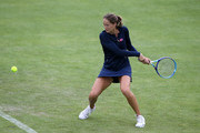 Bojana Jovanovski of Serbia in action against Nicole Gibbs of USA in her qualifying match on day one of the WTA Aegon Open Nottingham at Nottingham Tennis Centre on June 8, 2015 in Nottingham, England.