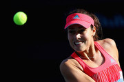 Ana Ivanovic of Serbia plays a backhand  in her match against Daria Gavrilovaof Australia during day two of the WTA Dubai Duty Free Tennis Championship at the Dubai Duty Free Stadium on February 16, 2016 in Dubai, United Arab Emirates.
