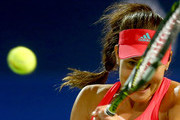 Ana Ivanovic of Serbia in action against Barbora Strycova of Czech Republic during her quarter final match on day four of the WTA Dubai Duty Free Tennis Championship at the Dubai Duty Free Stadium on February 18, 2016 in Dubai, United Arab Emirates.