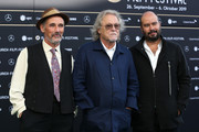 "Mark Rylance, Michael Fitzgerald and Ciro Guerra attend the ""Waiting for the Barbarians"" premiere during the 15th Zurich Film Festival at Kino Corso on September 29, 2019 in Zurich, Switzerland."