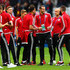 Gareth Bale (3rd R) and Wales players inspect the pitch prior to the UEFA EURO 2016 quarter final match between Wales and Belgium at Stade Pierre-Mauroy on July 1, 2016 in Lille, France.