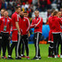 Gareth Bale (4th L) and Wales players inspect the pitch prior to the UEFA EURO 2016 quarter final match between Wales and Belgium at Stade Pierre-Mauroy on July 1, 2016 in Lille, France.