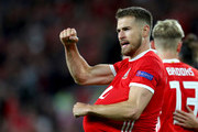 Aaron Ramsey of Wales celebrates after scoring his team's third goal during the UEFA Nations League B group four match between Wales and Ireland at Cardiff City Stadium on September 6, 2018 in Cardiff, United Kingdom.