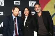Scott Gimple, Sarah Barnett and Jeffrey Dean Morgan attend The Walking Dead Premiere and Party on September 23, 2019 in West Hollywood, California.