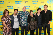 """(L-R) Elizabeth Eves, Michael Pena, John Michael McDonagh, Flora Fernandez-Marengo, Chris Clark and Alexander Skarsgard attend the """"War On Everyone"""" premiere during the 2016 SXSW Music, Film + Interactive Festival at Topfer Theatre at ZACH on March 12, 2016 in Austin, Texas."""