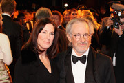 Director Steven Spielberg and Producer Kathleen Kennedy attend the UK premiere of War Horse at Odeon Leicester Square on January 8, 2012 in London, England.