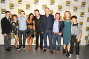 "In this handout photo provided by Warner Bros, Robin Taylor Lord, Camren Bicondova, Jada Pinkett Smith, Donald Logue, Bruno Heller, Danny Cannon, Erin Richards, and David Mazouz of ""Gotham""  attends ""Warner Bros. Television Presents A Night of DC Entertainment"" at Comic-Con International 2014  on July 26, 2014  in San Diego, California."