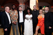 (L-R) Tom Corson, Gary Clark Jr., Max Lousada, Yola, Aaron Bay-Schuck, JoJo and David Bither attend the Warner Music Group Pre-Grammy Party at Hollywood Athletic Club on January 23, 2020 in Hollywood, California.