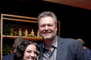 Ashley McBryde and  Blake Shelton attend the Warner Music Group Pre-Grammy Party at Hollywood Athletic Club on January 23, 2020 in Hollywood, California.