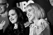 Image has been shot in black and white. No color version available) (L-R) Winona Ryder and Zoe Kazan of 'The Plot Against America' pose in the green room during the 2020 Winter Television Critics Association Press Tour at The Langham Huntington, Pasadena on January 15, 2020 in Pasadena, California. 697450