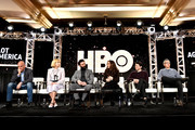(L-R) David Simon, Zoe Kazan, Morgan Spector, Winona Ryder, Anthony Boyle and John Turturro of 'The Plot Against America' appear onstage during the HBO segment of the 2020 Winter Television Critics Association Press Tour at The Langham Huntington, Pasadena on January 15, 2020 in Pasadena, California. 697450