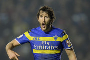 Stefan Ratchford of Warrington Wolves in action during the First Utility Super League match between Warrington Wolves and Leeds Rhinos at The Halliwell Jones Stadium on March 13, 2015 in Warrington, England.