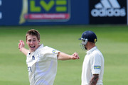 Chris Woakes of Warwickshire celebrates after taking the wicket of Nic Pothas of Hampshire during the LV County Championship match between Warwickshire and Hampshire at Edgbaston on April 30, 2010 in Birmingham, England.