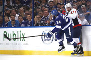 Ryan Callahan #24 of the Tampa Bay Lightning collides with Brooks Orpik #44 of the Washington Capitals during the first period in Game One of the Eastern Conference Finals during the 2018 NHL Stanley Cup Playoffs at Amalie Arena on May 11, 2018 in Tampa, Florida.