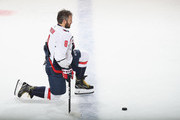 Alex Ovechkin #8 of the Washington Capitals stretches during warm-ups prior to playing against the New Jersey Devils at the Prudential Center on October 11, 2018 in Newark, New Jersey.